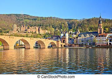 ponte, em, heidelberg, alemanha