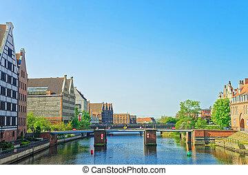 ponte, em, waterfront, de, motlawa, rio, gdansk