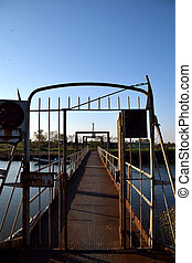 ponte, enferrujado, antigas, sobre, -, itália, rio, po