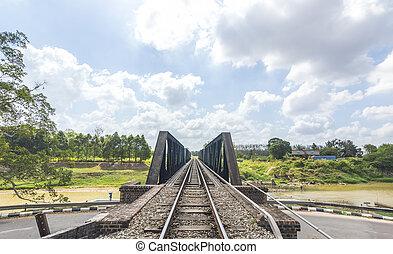 ponte, estrada ferro, antigas