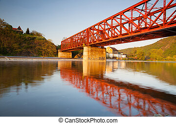 ponte, estrada ferro, antigas, ferro