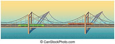 ponte, estrada ferro, ensolarado