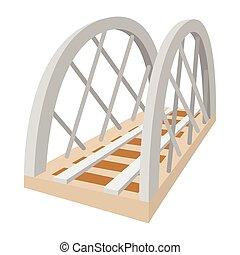 ponte, estrada ferro, metal, caricatura, ícone