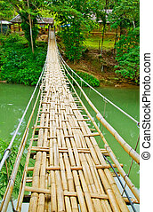 ponte, estreito, penduradas