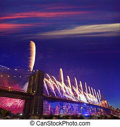 ponte, fireworks, brooklyn, york, th, nuovo, 2014, luglio, 4