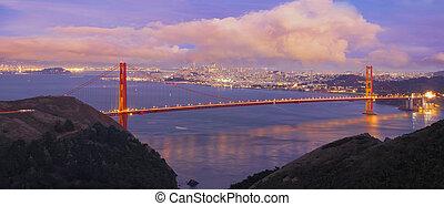 ponte, francisco, san, anoitecer, portão dourado