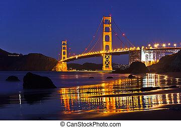 ponte, francisco, san, cancello dorato, notte
