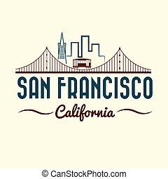 ponte, francisco, san, dorato, tram, cancello