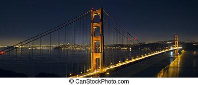 ponte, francisco, san, dourado, rastros, luz, portão