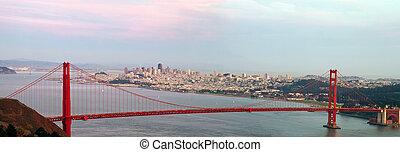 ponte, francisco, san, dourado, skyline, portão