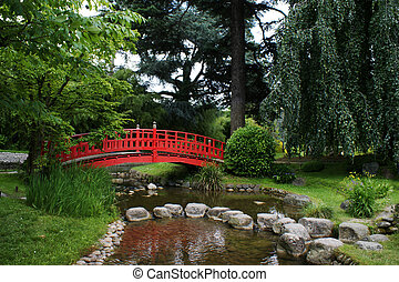 ponte, giardino, rosso, giapponese