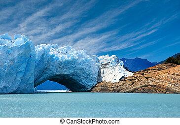 ponte, glacier., perito, moreno, ghiaccio