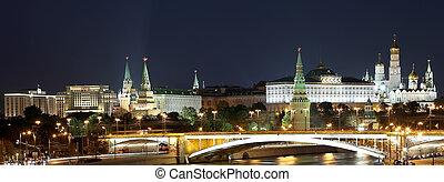 ponte, grande, cremlino, pietra, mosca, fiume, notte, vista, russia, moskva