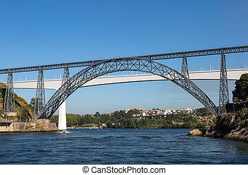 ponte, haga, infante, puente, encima, douro, río, en, porto,...