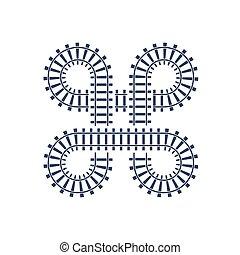 ponte, interseção, road., curva, trem, trilha grade, mapa, símbolo., vetorial, junção, ferrovia, estrada ferro