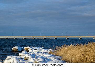 ponte, inverno, costa