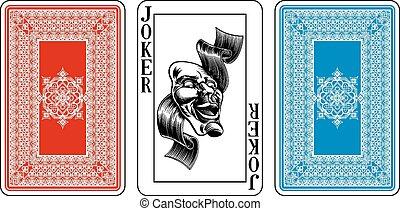 ponte, invertire, burlone, più, carta da gioco, formato