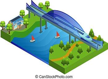 ponte, isometric, conceito, estrada ferro