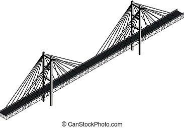 ponte, isometrico, cavo, stayed