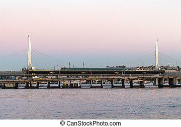ponte, istambul, dourado, sobre, baía, chifre, vista
