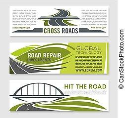 ponte, jogo, estrada, rodovia, crossroad, bandeira