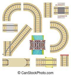 ponte, jogo, fundo, túnel, topo, trilho, isolado, cobrança, ou, curvy, trilhas, vetorial, ilustração, maneira, trilhos, direito, estrada ferro, branca, ferrovia, estrada, vista