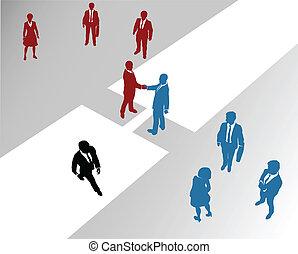 ponte, juntar, negócio, fusão, companhia, equipes, 2