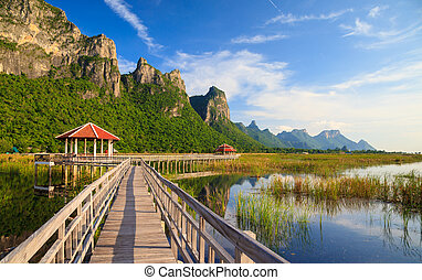 ponte, khao, sam, roi, legno, nazionale, yod, lago, parco, loto, tailandia
