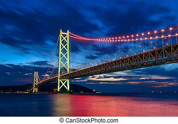 ponte, kobe, scena, luce, akashi, kaikyo, notte, giappone