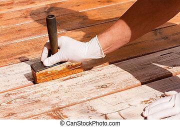 ponte, legno, decking, manutenzione, applicare, macchia