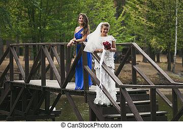 ponte, legno, sopra, damigella d'onore, sposa, proposta, fiume
