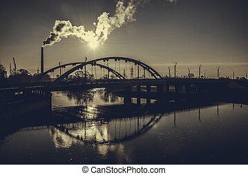 ponte, ligado, a, rio, mukhavets, em, brest, belarus