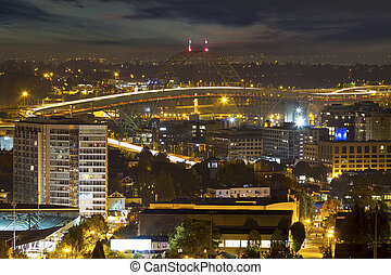 ponte, luce, fremont, notte, piste, portland