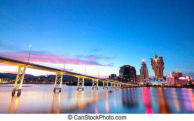 ponte, macao, macao, asia., cityscape, grattacielo