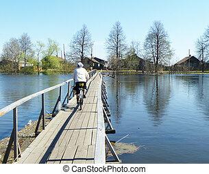 ponte madeira, através, rio