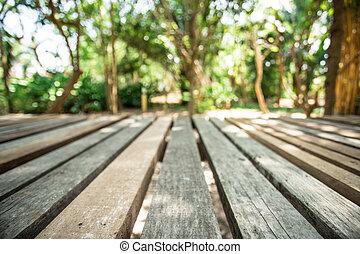 ponte, madeira, jardim
