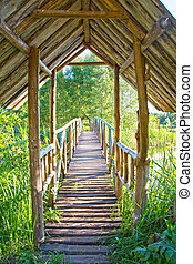 ponte, madeira, lago, pacata, ower, dia