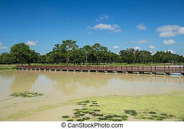 ponte, madeira, parque, histórico, sukhothai, tailandia
