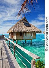 ponte, madeira, sobre, oceano água, cabana