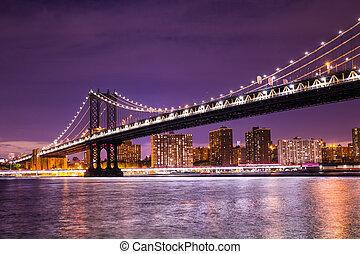 ponte, manhattan, york, novo, cidade