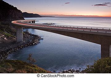 ponte, mare, scogliera