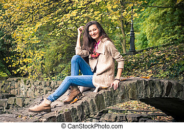 ponte, menina, pedra, sentando