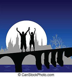 ponte, menina, vetorial, illus, homem