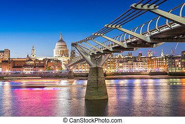 ponte, millennio, notte, londra