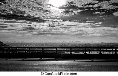 ponte, mortos, rio, cidade, céu, concept., global, triste, clouds., experiência., mau, toned, pretas, desesperado, poluição, quality., branca, ar, warming, vista