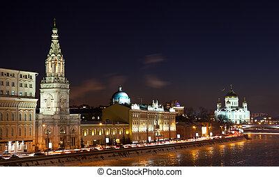 ponte, moscou, rio, noturna, rússia, vista, kremlin, moskva