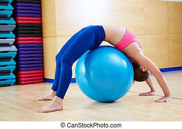 ponte, mulher, fitball, pilates, ginástica, exercício