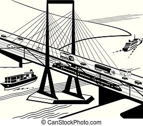 ponte, multifunctional, transporte, perspectiva