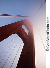 ponte, nevoeiro, detalhe, portão, dourado