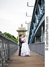 ponte, noivo, passeio, noiva, casório, feliz